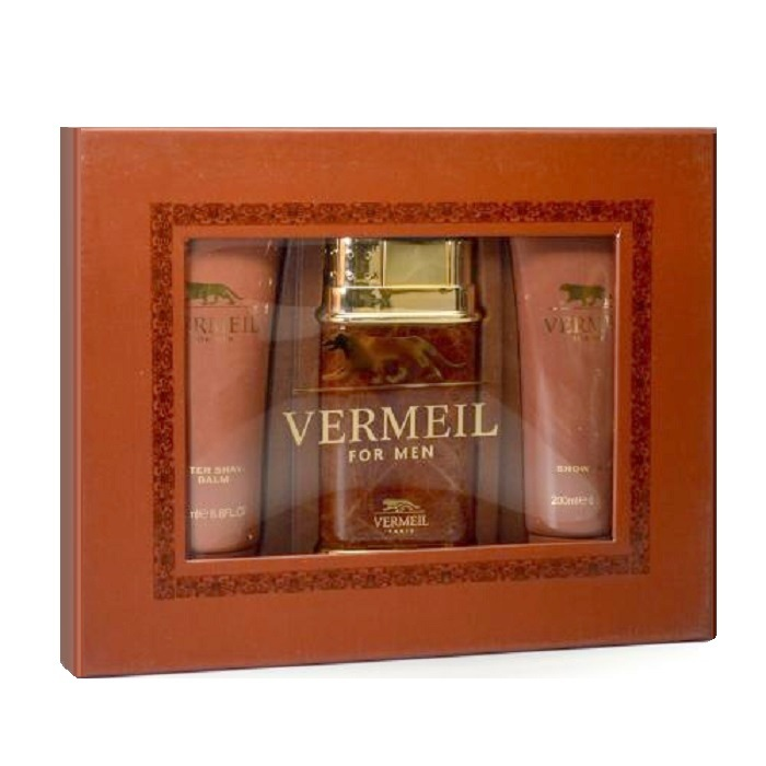 Vermeil For Men Gift Set by Jean Louis Vermeil - 3.4oz Eau De Toilette Spray, 6.8oz After Shave balm, & 6.8oz Shower Gel
